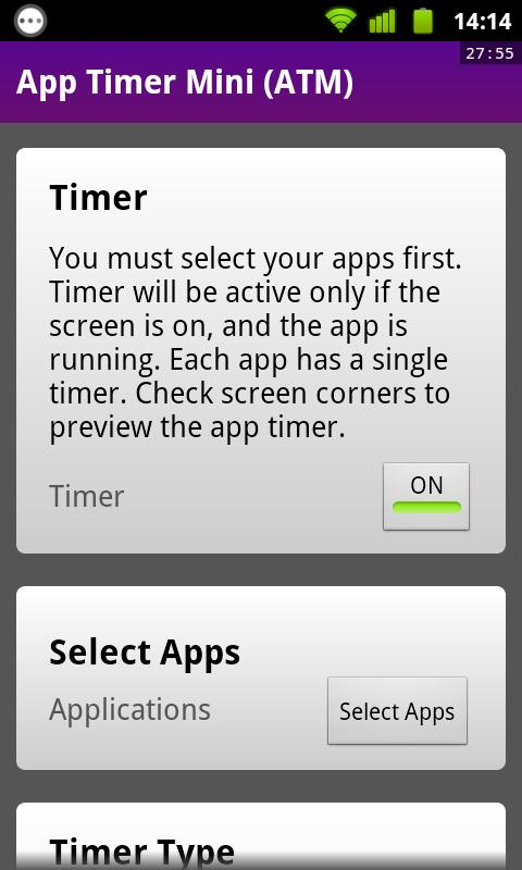 App Timer Mini (ATM) - screenshot