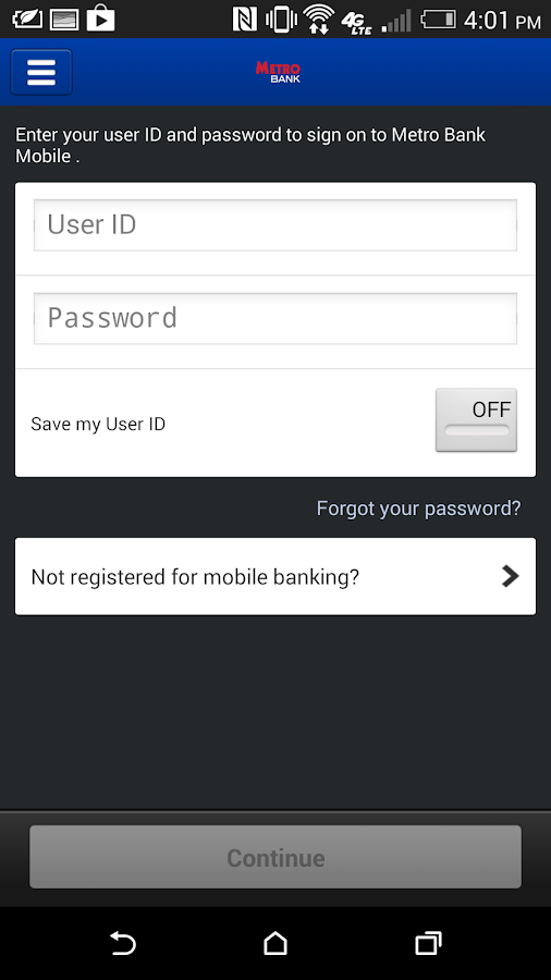Metro Bank Mobile Smartphone- screenshot