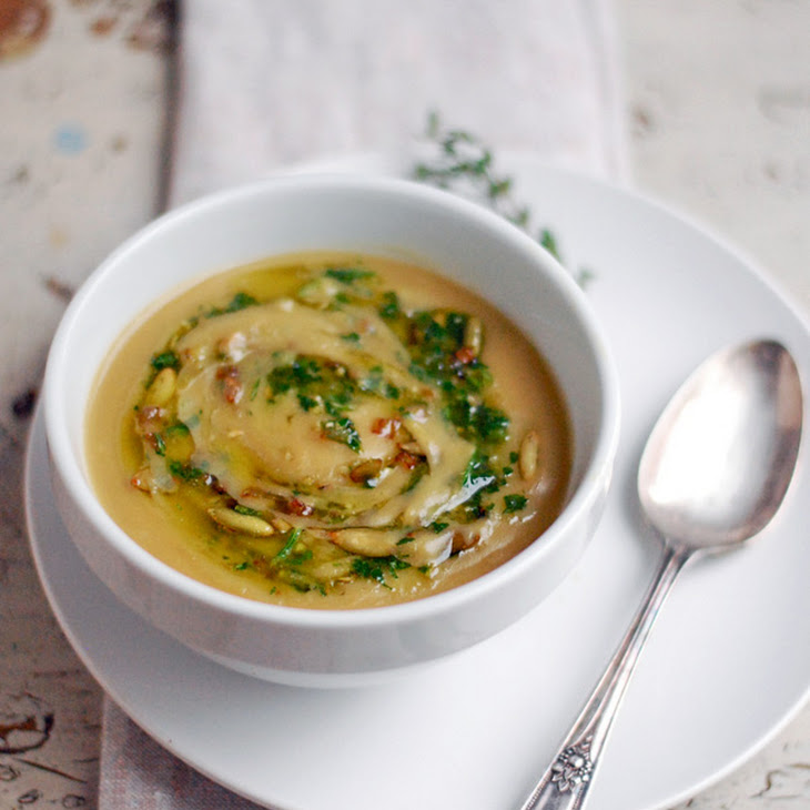 Potage Parmentier or Potato Leek Soup with Toasted Pepitas and Herbs Recipe