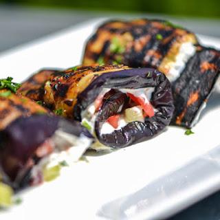 Eggplant Spirals With Greek Yogurt, Tomatoes, and Cucumber