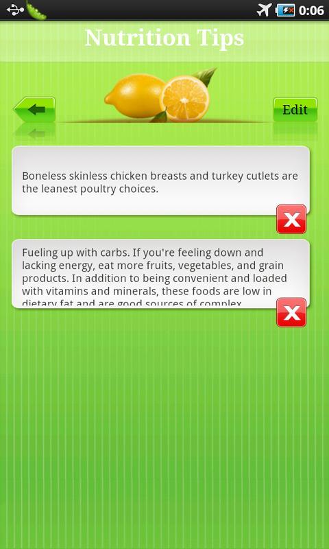 Nutrition Tip- screenshot