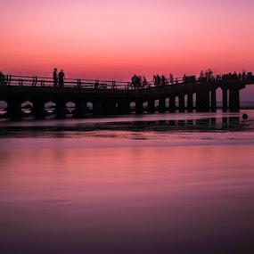 Boardwalk by Jon Soriano - Landscapes Waterscapes ( fuji x, saudi, sea, seascape, landscape, sun, boardwalk, jeddah, nd, sunset, fujifilm, landscape photography, fuji, long exposure, bridge, fishing, landscapes, filter, saudi arabia )