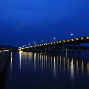 Lighted Bridge by Angela Wescovich - Landscapes Waterscapes ( water, blue, pier, bridge, dusk,  )