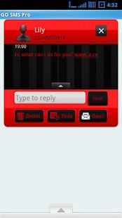 Go Sms Theme Red - screenshot thumbnail