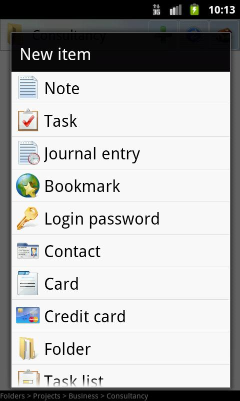 B-Folders Password Manager - screenshot
