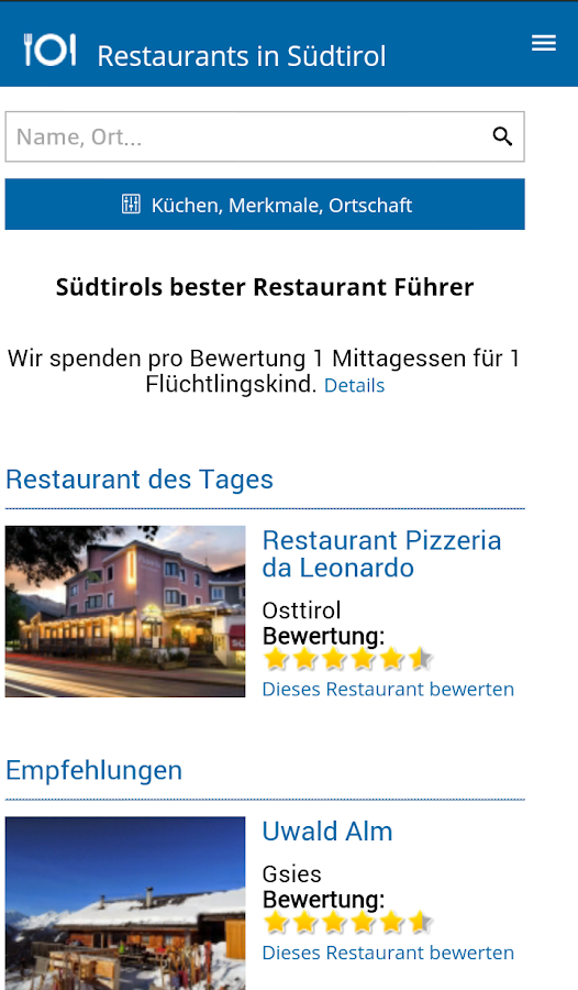 Restaurants South-Tyrol- screenshot