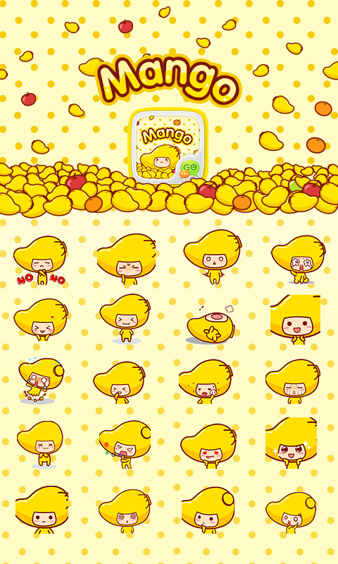GO SMS MANGO ANIMATED STICKER- screenshot