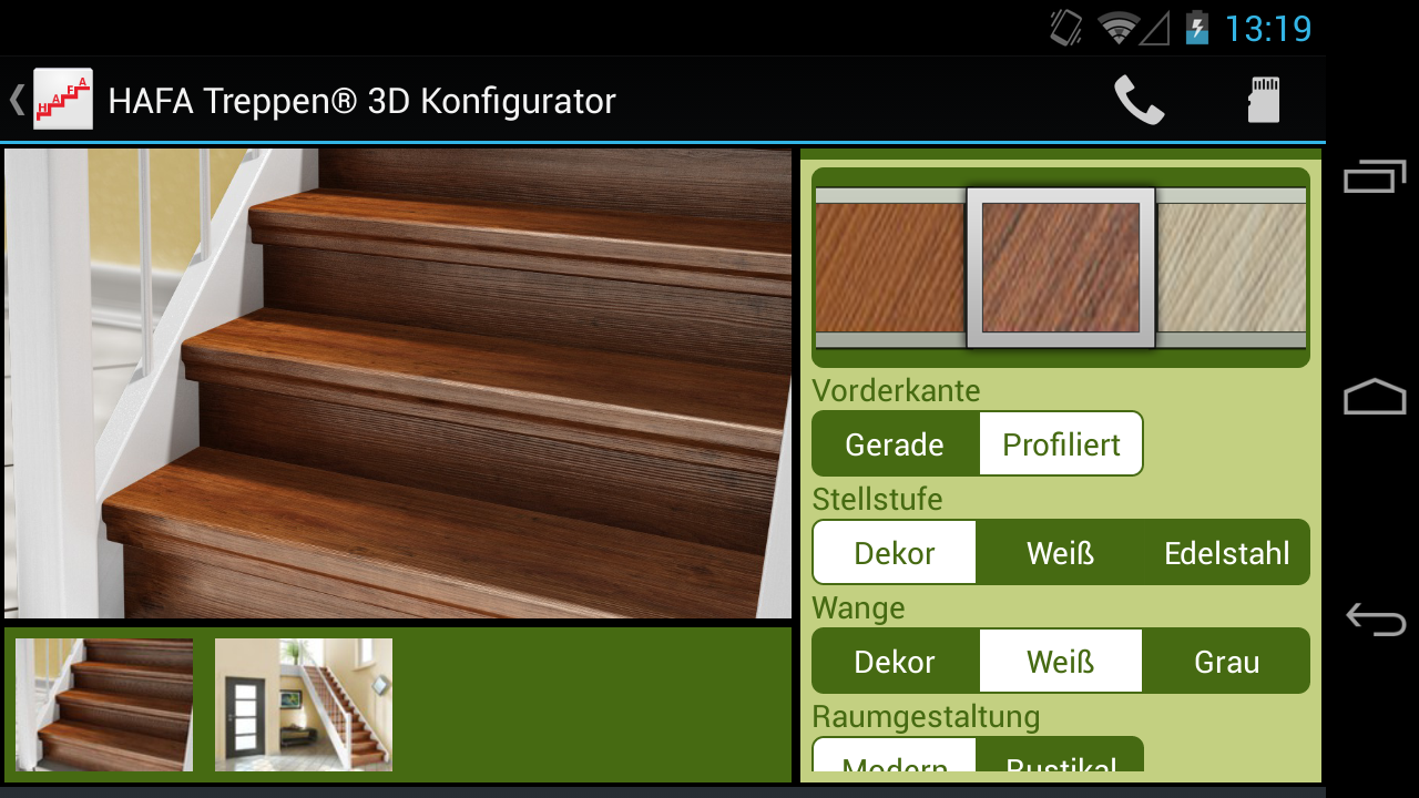 HAFA 3D Konfigurator- screenshot