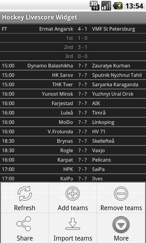 Hockey Livescore Widget - screenshot