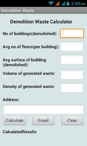 Demolition Waste Calculator