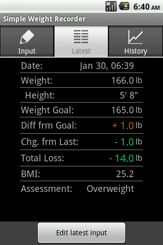 Simple Weight Recorder - screenshot