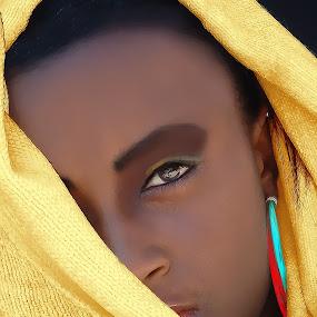 Gracious by Felix M - Digital Art People ( romabtic, ear rings, girl, african, gorgeous, woman, beautiful, yellow, colorfull, pretty, gracious, eyes,  )
