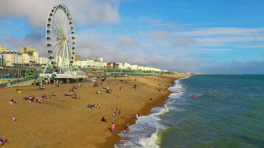 Wheel of summer by Alexandra Rafaila - Landscapes Beaches ( holiday, sand, england, wheel, summer, seaside, beach, sun, city,  )