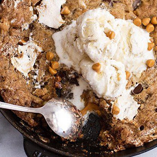 Triple Chocolate Chip and Butterscotch Skillet Cookie