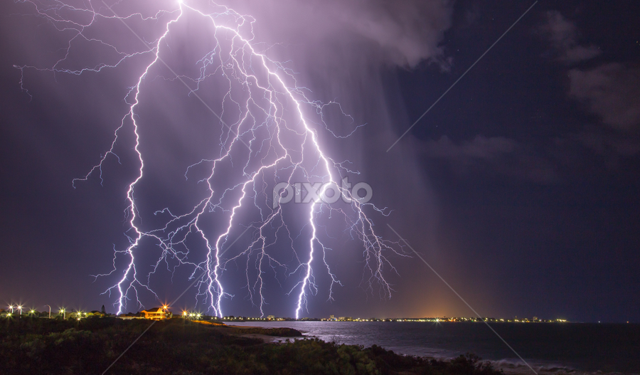 Super Storm Strikes Australia by Steve Brooks - Landscapes Weather ( clouds, canon, perth, high based, ocean, thor, 6d, mandurah, lightning, australia, storms, sparks, rain, western australia )