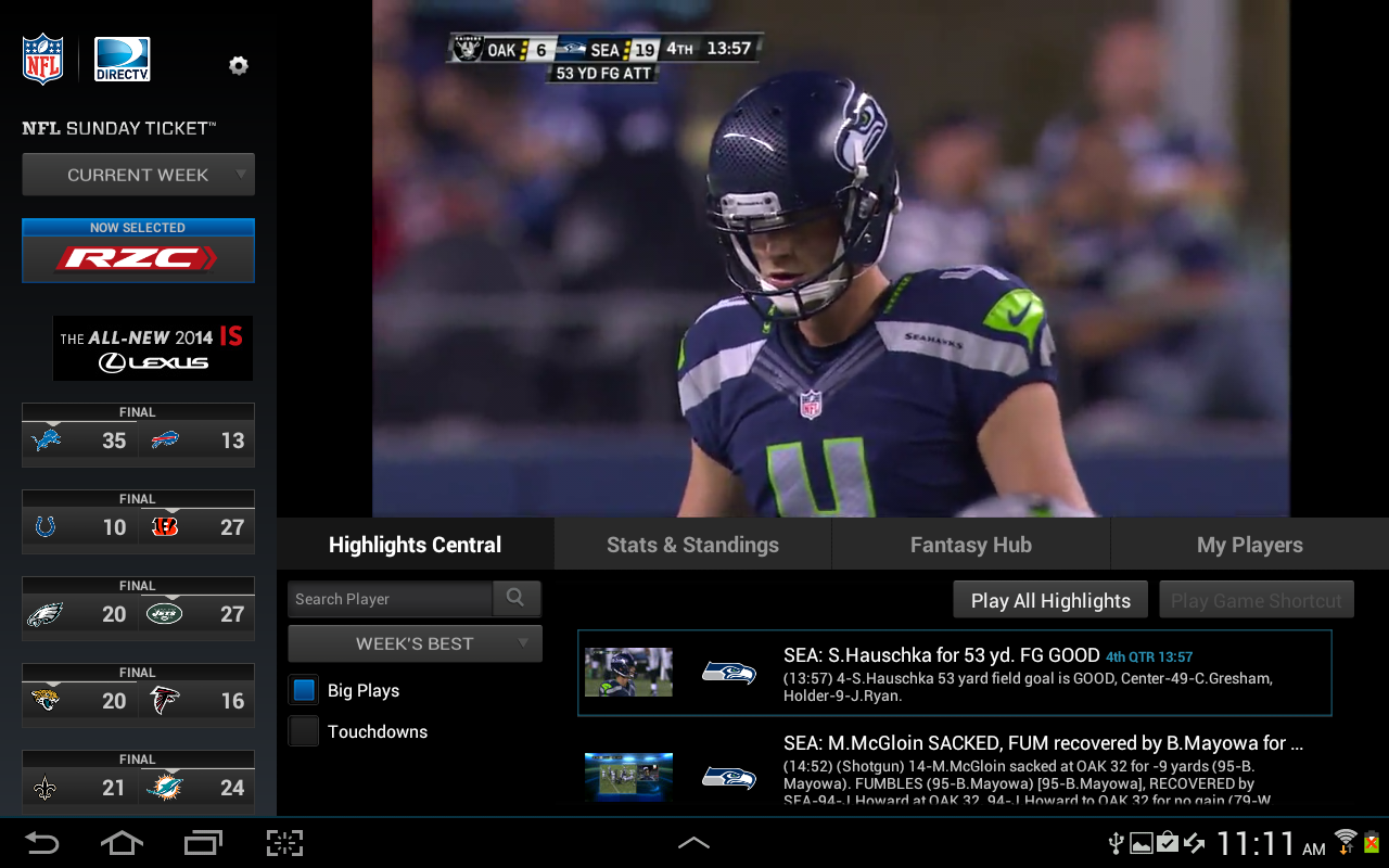NFL Sunday Ticket for Tablets - screenshot