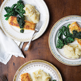 Parmesan-Crusted Halibut with Broccoli Rabe and Mashed Potatoes.