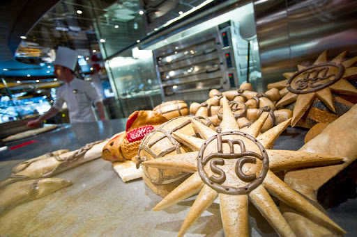 MSC-Preziosa-Bakery-Corner - The evocative scent of freshly baked breads and pastries fills the air at MSC Preziosa's Bakery Corner.