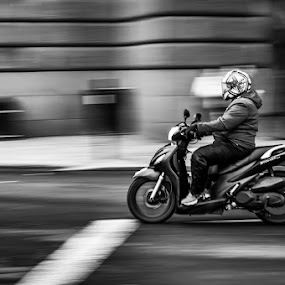 Stand Still Speed by Liam Robson - Transportation Motorcycles ( panning, motocycle, street life, black and white, urban life, mono, photography, scooter )