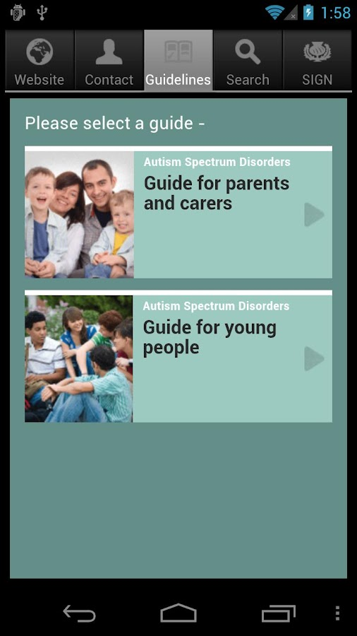SIGN Autism Patient Guide- screenshot