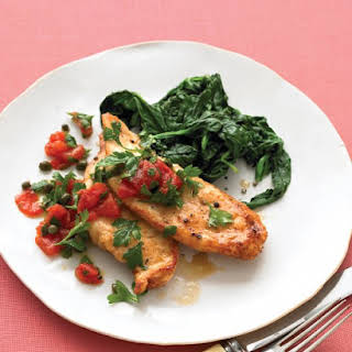 Sauteed Chicken with Tomato Relish and Spinach.