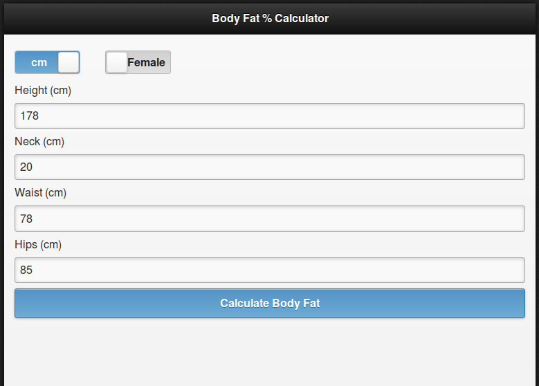 body fat percentage calculator neck and waist