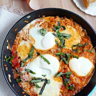 Caprese Shakshuka Breakfast Casserole.