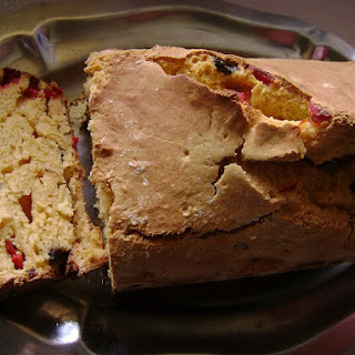 Corn Bread with Red Peppers and Black Olives.