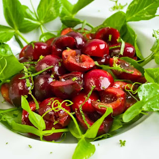 Sweet Cherry & Pea Vine Salad with Basil & Mint & Creamy Lime Vinaigrette