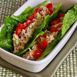 Tuna Salad Lettuce Wraps with Capers and Tomatoes.