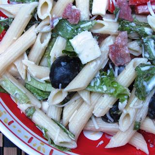 Creamy Caesar Pasta Salad with Romaine