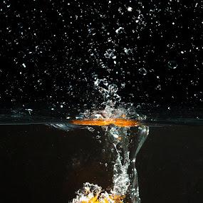 Orange wash by Todd Wallarab - Abstract Water Drops & Splashes ( water, orange, clean, wet, spalsh )