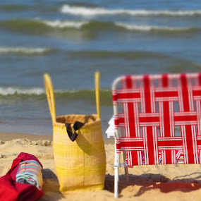 Beach Chair Shangrila by Tanya Washburn - Uncategorized All Uncategorized ( sand, red beach chair, waves, summer, beach,  )