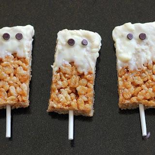 Peanut Butter Crispy Treat Ghosts