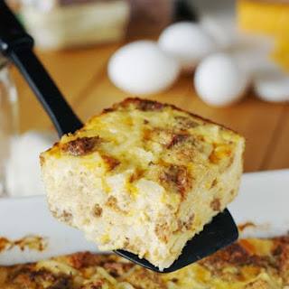 Overnight Sausage, Egg & Hash Brown Breakfast Casserole.