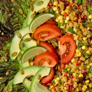 Quinoa and Corn Salad with Pumpkin Seeds.