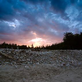 Electric Sunset on Black Brook Beach II by Glen Fortner - Landscapes Sunsets & Sunrises ( nova scotia, canada, cape breton highlands, cabot trail, cape breton )