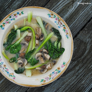 Vegan Miso Soup with Boy Choy and Mushrooms.