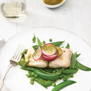 Steamed Cod and Mixed Green Peas with Basil Vinaigrette.