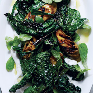 Grilled Eggplant and Greens with Spiced Yogurt Recipe
