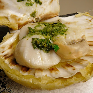 Scallops with Ginger Butter, Cilantro, and Lime.