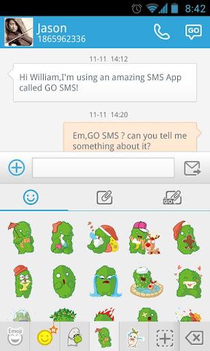 玩娛樂App|GO短信加強版小緑怪表情貼圖免費|APP試玩