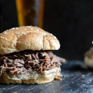Crockpot Brown Sugar + Roasted Garlic Pulled Pot Roast Sandwiches