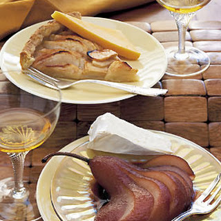 Wine- and Citrus-Poached Pears with Triple-Crème Cheese