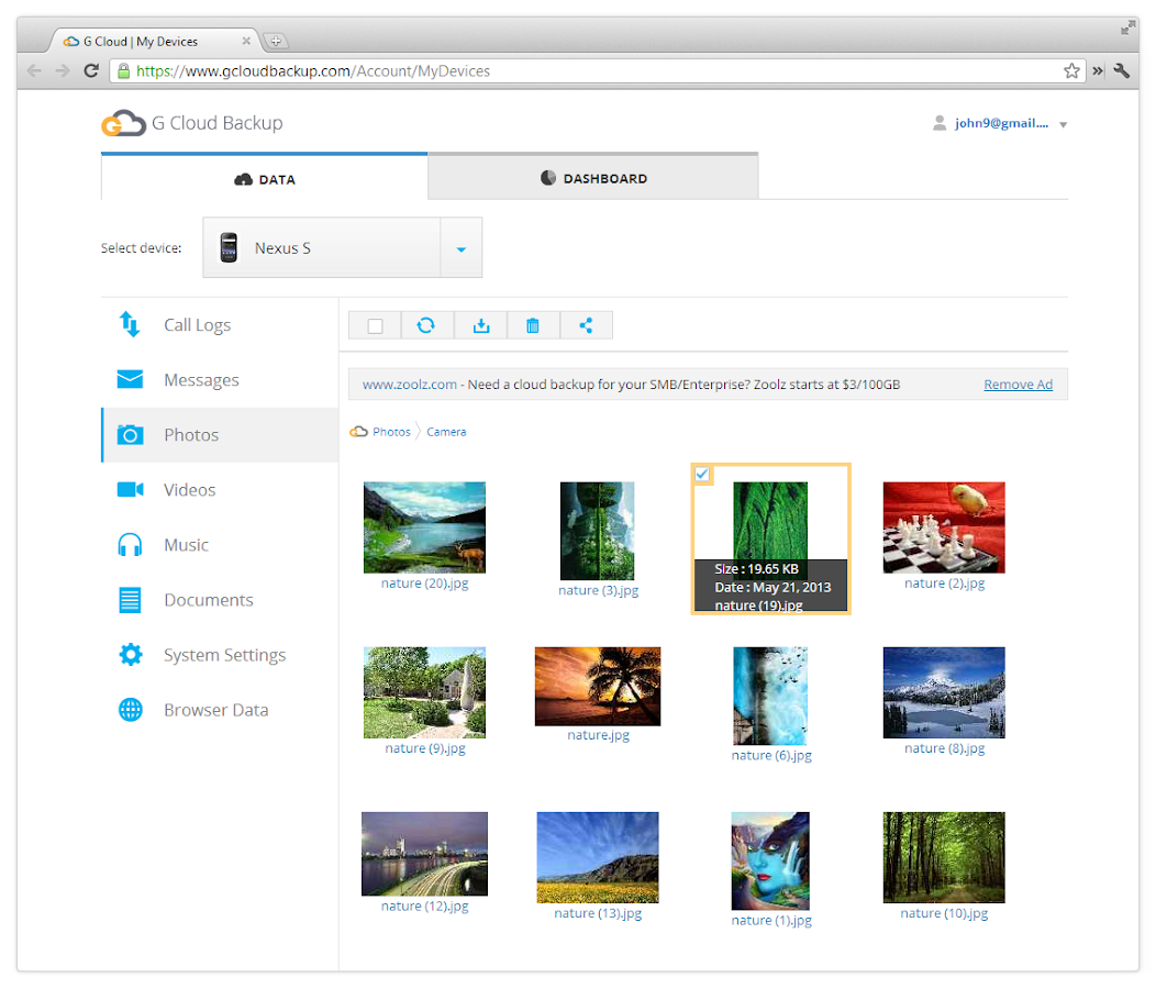 G Cloud Backup - screenshot