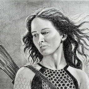 Jennifer Lawrence in Hunger Games by Alfonso Rahardja - Drawing All Drawing