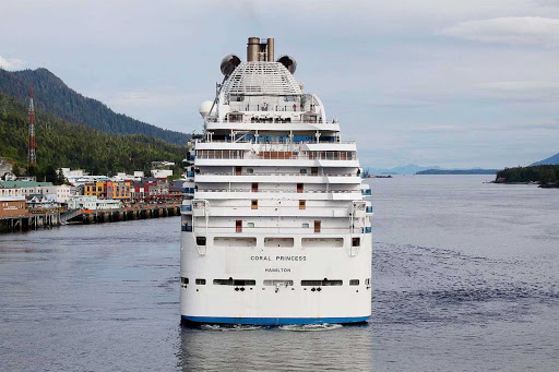 Coral-Princess-Ketchikan-Alaska - Coral Princess pulls away from the pier in Ketchikan, Alaska.