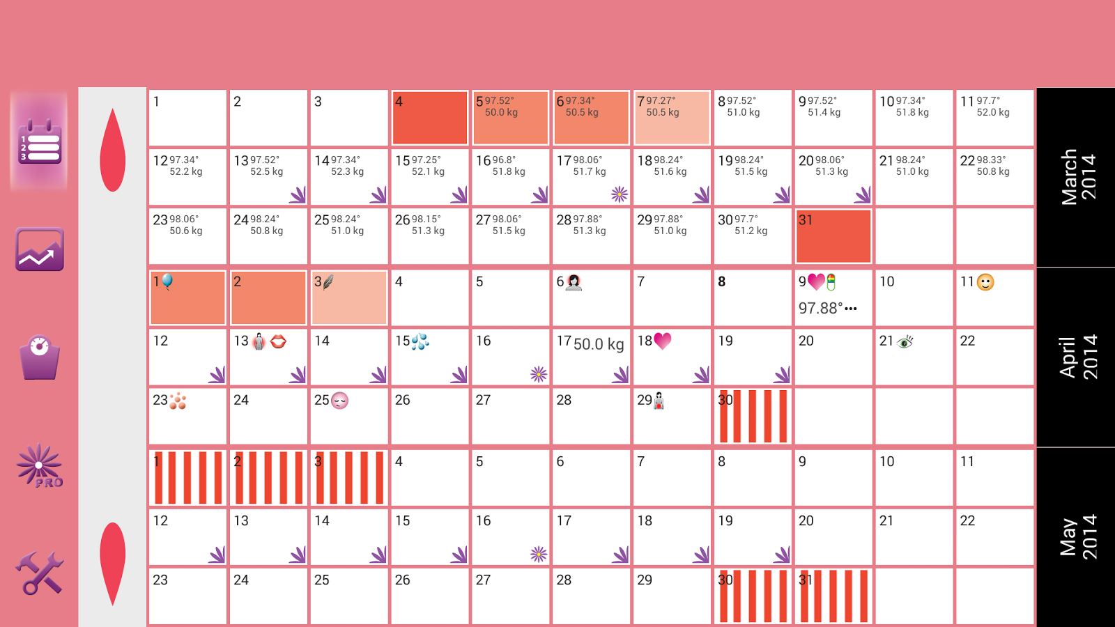 WomanLog Calendar - screenshot