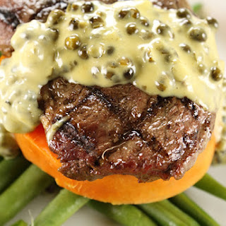 Coffee Rubbed Ribeye with Pepper & Maple Bourbon Cream Sauce