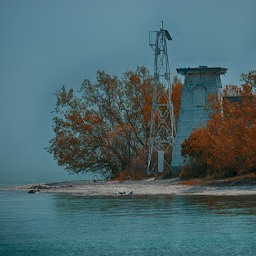 Old Lighthouse by Lisa Wessels - Landscapes Waterscapes ( colour, old, blue, autumn, fall, lighthouse, beach, abandoned )